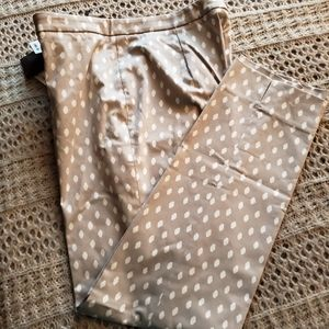PESERICO HANDMADE TAN/WHITE PRINT ANKLE CROP PANTS